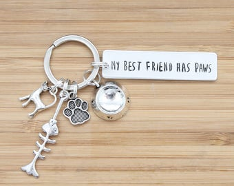 hand stamped keychain | my best friend has paws - cat edition