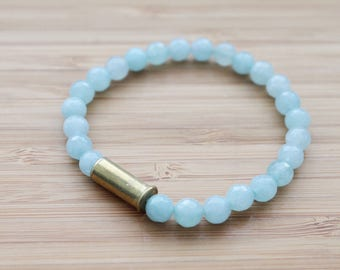 beaded bullet shell bracelet | blue