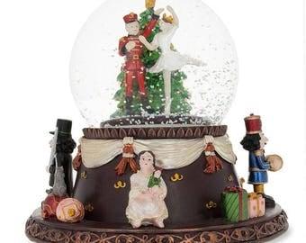 "6.1"" Nutcracker Dancing with Clara Rotating Christmas Music Box Snow Globe"