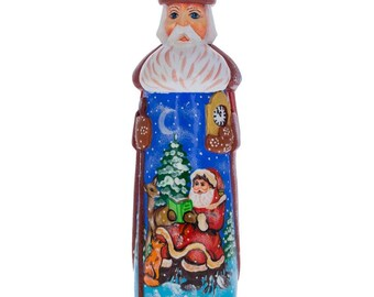 "7.25"" Santa Reading to Animals Hand Carved Wooden Santa Figurine"