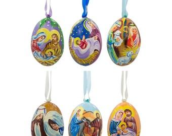 "3"" Set of 6 Jesus, Mary, and Joseph Nativity Scene Wooden Christmas Ornaments"