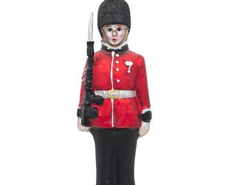 "6.25"" Great Britain Royal Guard British Army Soldier Glass Christmas Ornament"