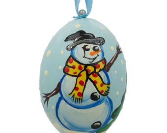 "3"" Snowman with Scarf Wooden Christmas Ornament"