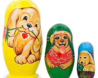 "4.25"" Set of 3 Labrador Retriever Dogs Wooden Nesting Dolls"