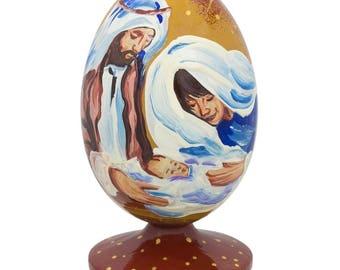 "3.5"" The Holy Family and Newborn Jesus Nativity Scene Wooden Figurine"