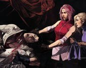 Sakura beheading Sasuke | Judith beheading Holofernes