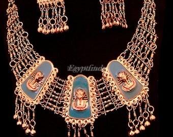 Egyptian Enamelled King Tutankhamen Set Of Necklace & Earrings