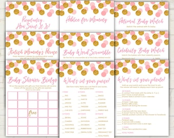 Pink and Gold Baby Shower - Games Package - Nine Games - PRINTABLE - INSTANT DOWNLOAD - 9 Baby Shower Games - Gold - Glitter - 0112