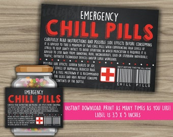 Chill Pills Printable Chalkboard Label - Funny Gift - INSTANT DOWNLOAD - Christmas Gift For Boss - CoWorker - Work Office Gag Gift - PL04
