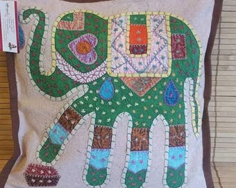 Green Elephant print cushion cover, ethnic pillow, decorative pillow, boho bedroom decor, Bohemian decoration, Stone wash cotton, Patch work