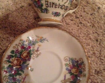 Vintage happy birthday cup and saucer