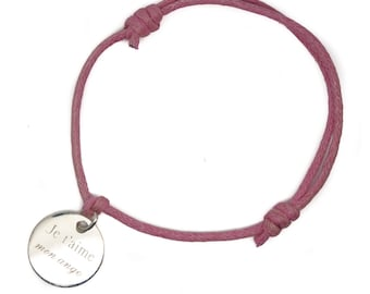 Bracelet to be engraved - silver medal and cotton cord
