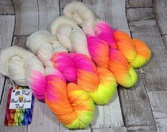 hand dyed yarn DK/ sock/ double knitting yarn/ merino/ nylon 'Peaceful Rave' UK indie dyer/ crochet/ knitting/ yarn wool