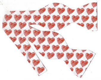 valentines day self tie bow tie scribbled red hearts valentine bow ties
