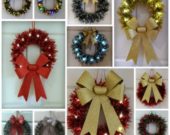 Light Up Christmas Wreath  festive decoration  Door wreath  hanging xmas  decor  outdoorOutdoor wreath   Etsy. Outdoor Wreath With Led Lights. Home Design Ideas