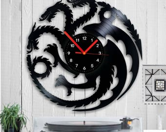 Wall clock Dragons Vinyl clock Game of Thrones Vinyl record Winter Is coming clock Birthday Gift home decor House Targaryen Stark decor art