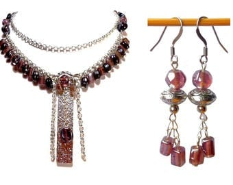 Glam set ' rock necklace earrings silver plum glass brass beads