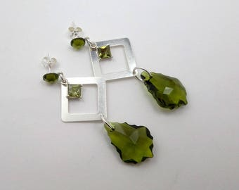 Earrings silver studs and Swarovski olivine Green