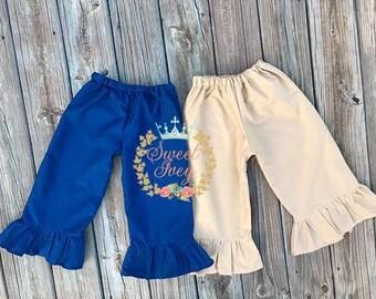 Back to School Uniform Ruffle Capris Khaki Navy Blue Custom Kindergarten 1st Grade 2nd Grade 3rd Grade Girls Pre-K