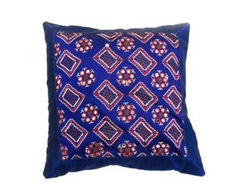 """Indian Pure Silk Cushion Cover Home Brocade Work Decorative Blue Color Size 17x17"""""""