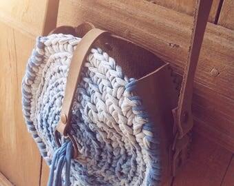 Spiral Ibiza bag, Boho bag, handmade bag, leather bag, messenger bag, gift for girlfriend, Burningman bag, blue indigo bag, bohemian bag