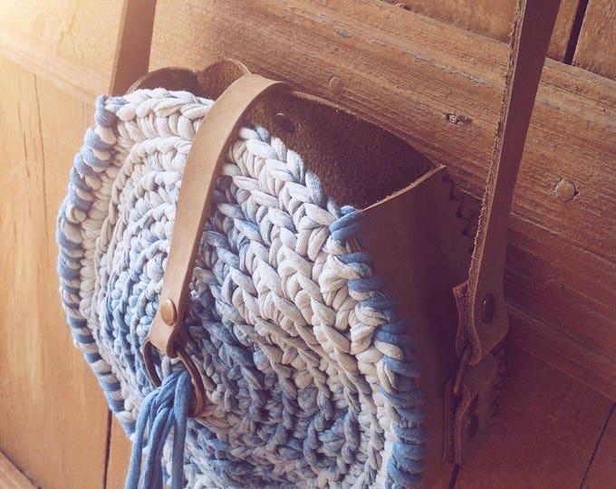 Featured listing image: Spiral Ibiza bag, Boho bag, handmade bag, leather bag, messenger bag, gift for girlfriend, Burningman bag, blue indigo bag, bohemian bag