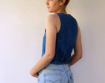 70's Denim Vest, VIntage 1970s Cropped Fitted Denim Vest, Boho Hippie Denim Cropped Jean Vest, Country Western Denim Vest , size S