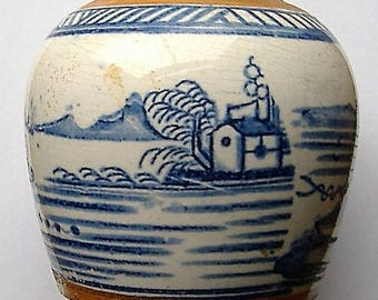 OLD EUROPEAN?BLUE And white hnd decorated vase