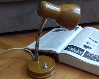 Vintage Gooseneck  Office table lamp from 70's made in Yugoslavia in beautiful ocher color. Working!