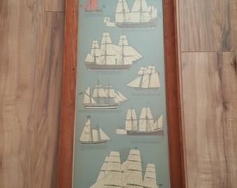VINTAGE Folk Art Old Sailing Ships Art