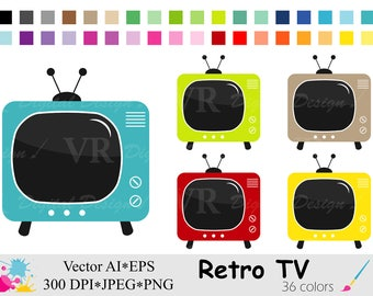 Retro TV Clip Art, Television Clipart, Rainbow Vintage TV Clipart, Planner Stickers Clipart, Instant Digital Download Vector Clip Art