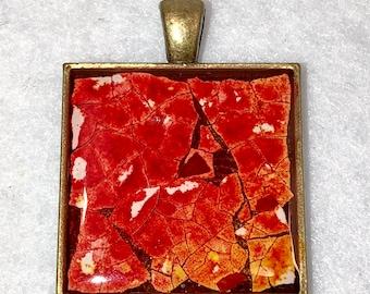 "1"" Eggshell Mosaic Brass square bezel (#124)"