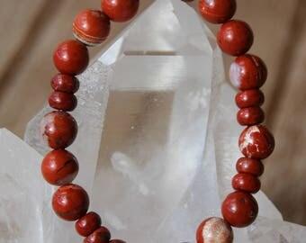 Red Jasper Bead Bracelet