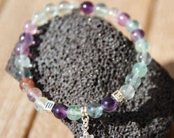fluorite silver charm bracelet