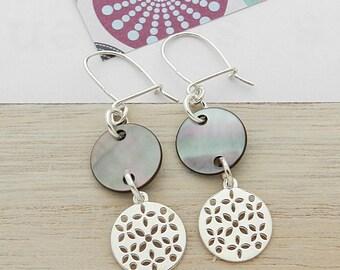 Black Pearl Earrings in silver