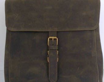Real leather backpack green - zaino in vera pelle