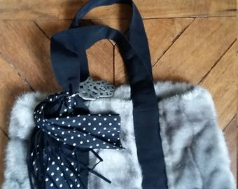 Faux mink grey tote bag