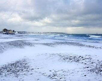 Winter scene, snowy beach, Scituate, MA, Minot Light, seascape, beach photos, cottage decor, coastal, New England, archival, signed print