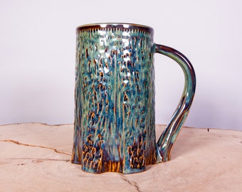 Carved Handmade Pottery Tree Mug in Forest Green Glaze, Textured mug