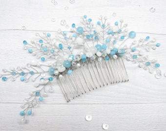 Womens gift Bridal accessories Blue bridal Hair comb Something blue Bridal comb Wedding hair comb Crystal hair comb Rhinestone comb Pearl