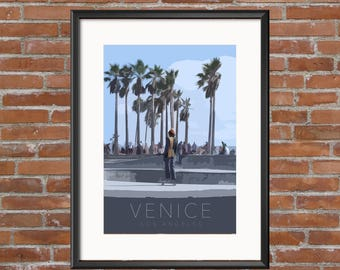 Venice, Los Angeles, poster, print, travel, home decor