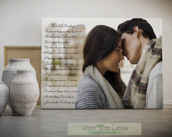 Photo to canvas with custom poetry, Personalized Poetry, Personalized gifts for boyfriend, Poem, Quotes print, Sister gift for christmas