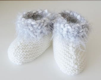 Boots for baby 0/3 months in gray and white wool