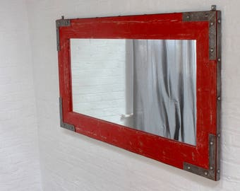 Lourdes Industrial Distressed Steel Framed and Red Painted Reclaimed Scaffolding Board Mirror - Bespoke Furniture by www.urbangrain.co.uk