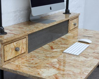 Pinder highly gloss lacquered OSB Industrial Desk with Storage Drawers and perforated steel radiator hiding detail - www.urbangrain.co.uk