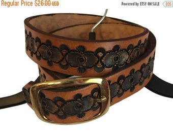 """SALE Vintage Stamped Leather Belt Done By Dunn 34"""" FREE SHIPPING!"""