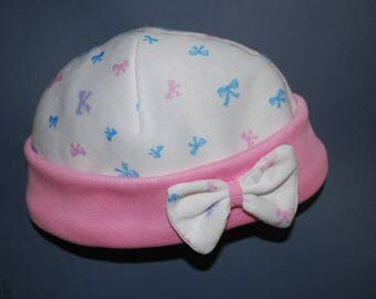 Baby Girl's Fleecy Winter Cap 6-12 Months Pink & White Beanie Hat with Bow
