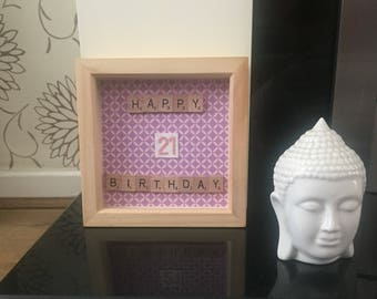 21st Birthday Box Frame with cross stitch numbers in pink