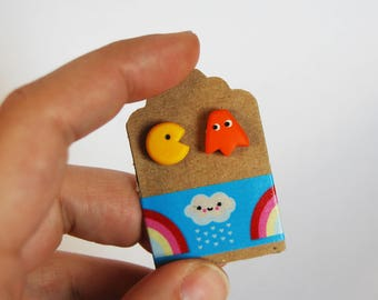 Studs Pacman + Orange Ghost in fimo