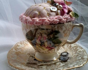 vintage teacup and saucer pincushion,shabby chic pin cushion,vintage morley tea cup and saucer,decorative pin cushion,
